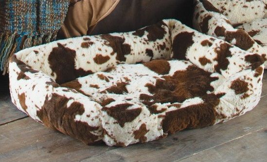 This plush cowprint dog bed from Rods.com will match western and southwestern homes.