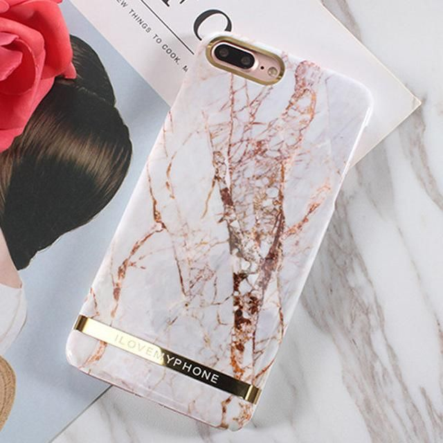 LACK Rose Gold Marble Phone Case For iphone 6 6S 7 8 Plus X Case Glossy Chic Marble Back Cover Hard PC Coque For iphone 6 Fundas