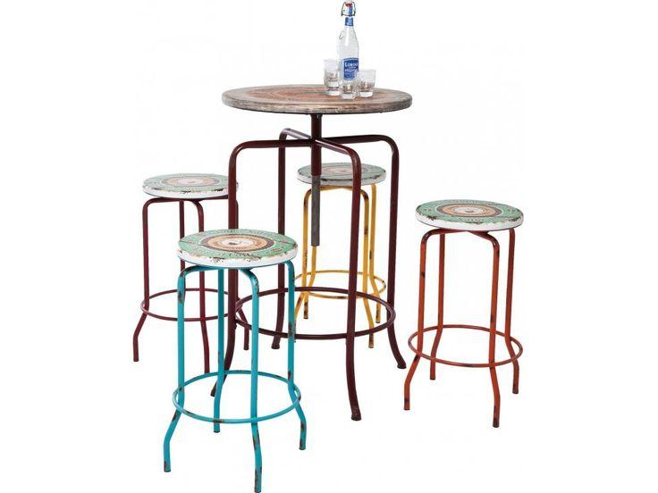 Stół Barowy z Hokerami Vintage Coffee (5/Set) — Stoły barowe — KARE® Design