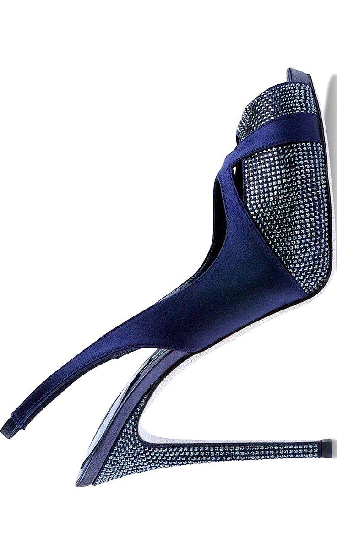 Renè Caovilla ~ Navy Leather Slingback Pump w Stud Accents 2015