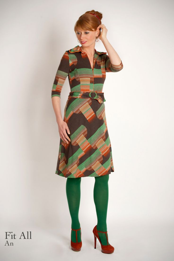 Wow To Go! - 70s Retro A-line Dress in Brown
