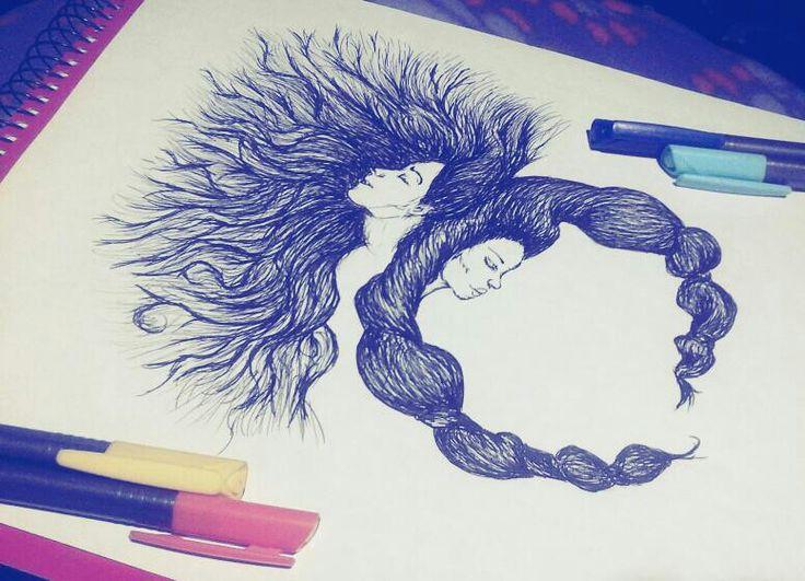 Ayer, en medio de una reunión semillera... #ilustración #DíaNoche #Mujer #cabello #tiralineas #dibujo