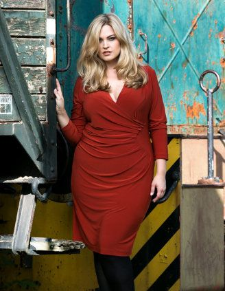 Rust-colored Long-sleeve wrap Dress by Verpass - navabi.de plus size clothing