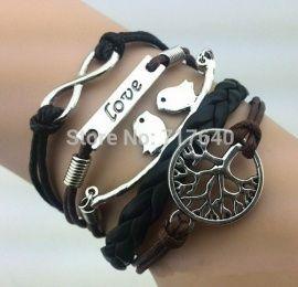 Oneindigheid - Love - Love birds - Levensboom  Armband.  Ongeveer 17 - 21 cm uit te breiden met circa 7 cm
