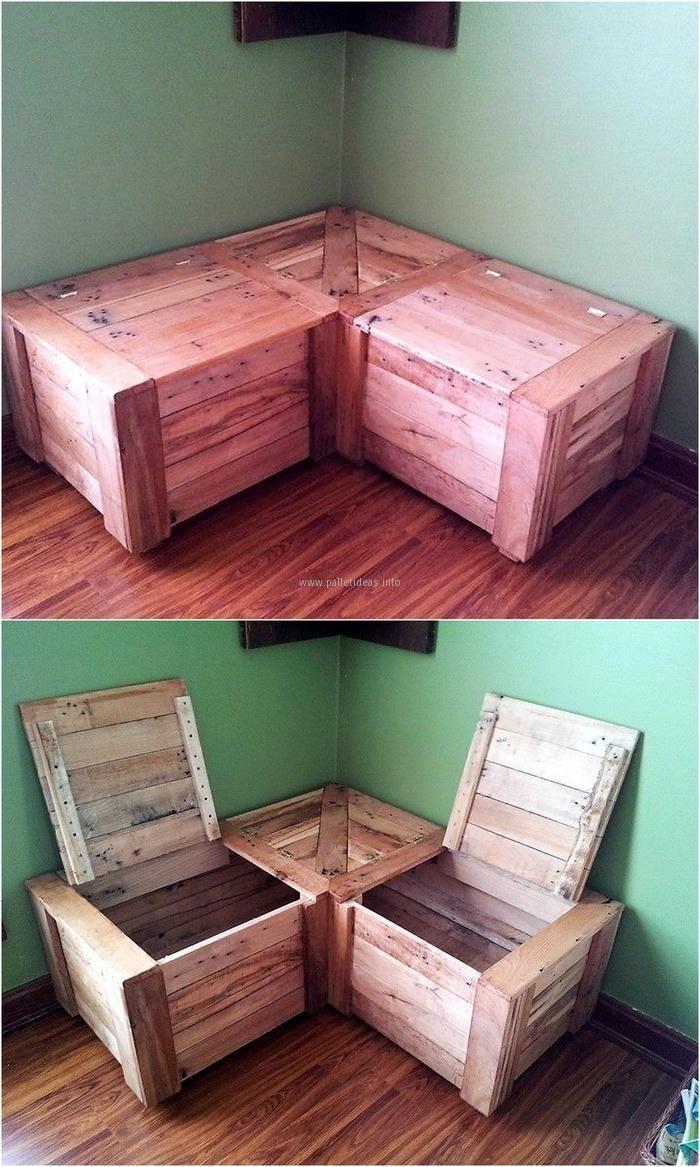 25 best corner storage ideas on pinterest for Pallet corner bench
