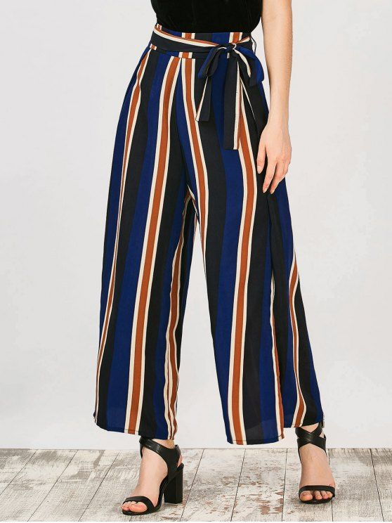 Striped Wide Leg Palazzo Pants - STRIPE M