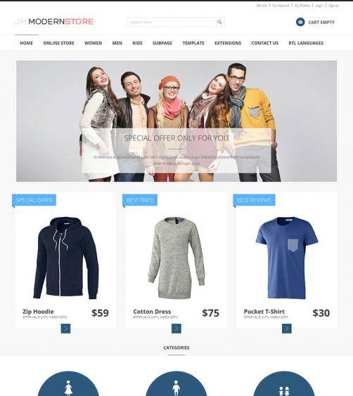 JM-Modern-Store, blue template version.