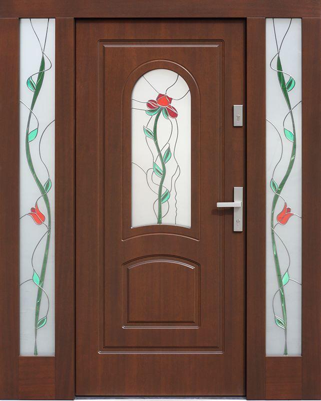 Drzwi zewnętrzne ze stałymi dostawkami doświetlami bocznymi model 576,1+ds1 w kolorze orzech