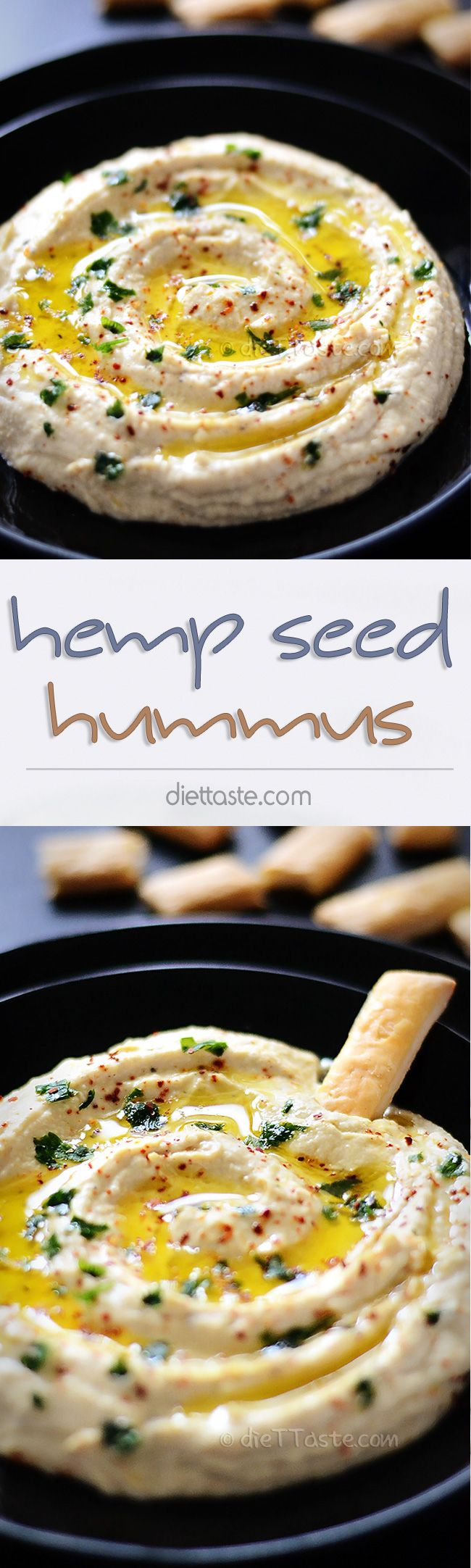 Hemp Seed Hummus - vegan, low carb, with healthy fats; great as a dip, a sandwich spread or a filling for pita bread or tortillas - diettaste.com | Vegan, Gluten-Free Plant-Based Recipes
