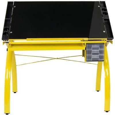 Drafting Table Glass Black Drawing Art Craft Station Modern Desk Workstation New