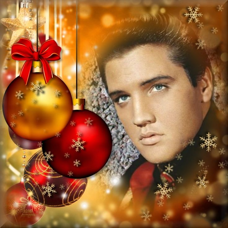 Elvis Christmas Art in Red and Gold