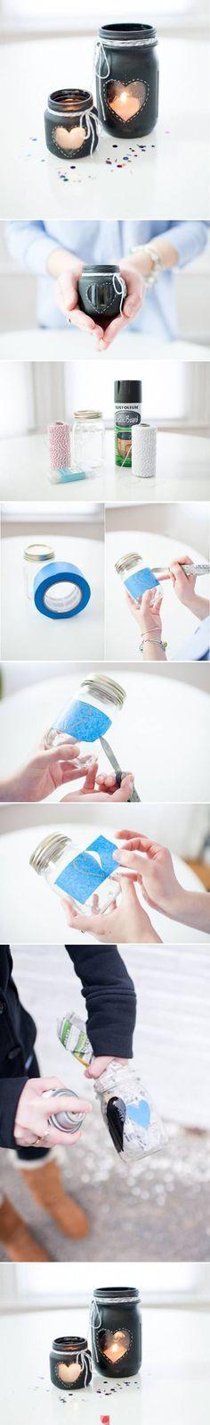 DIY Glass Jar Candlestick More