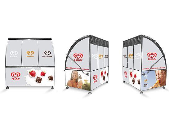 Diseño kioscos Frigo para Barcelona. Cliente: Unilever
