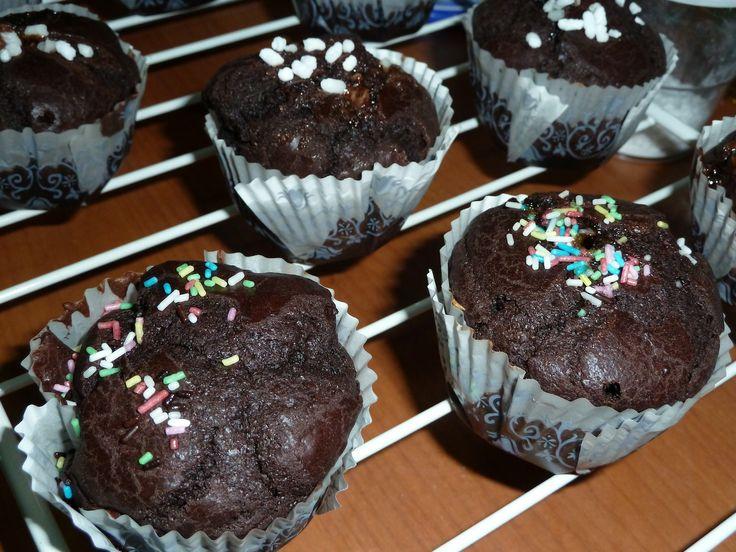 Muffin cioccolato fondente e cacao amaro con cuore di nutella