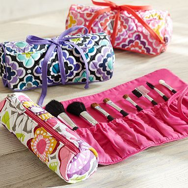 Quilted Sleepover Make Up Roll from Pottery Barn Teen. I could sew this. DIY makeup organization and travel.