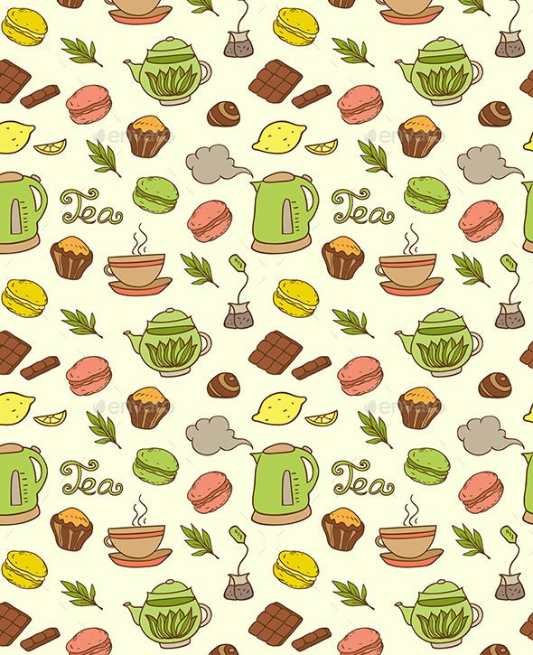 Seamless Pattern with Teapot and Cakes (Vector EPS, CS, background, beverage, biscuit, breakfast, cafeteria, cake, candy, chocolate, cloud, cookie, cup, dessert, doodle, drink, food, fruit, lemon, Macaroon, menu, pattern, seamless, steam, sweet, tea, teapot)