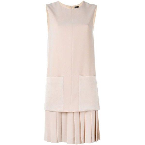 Joseph Pleated Hem Shift Dress (2.355 RON) ❤ liked on Polyvore featuring dresses, pleated shift dress, pink dress, pink pleated dress, joseph dress and pleated dress