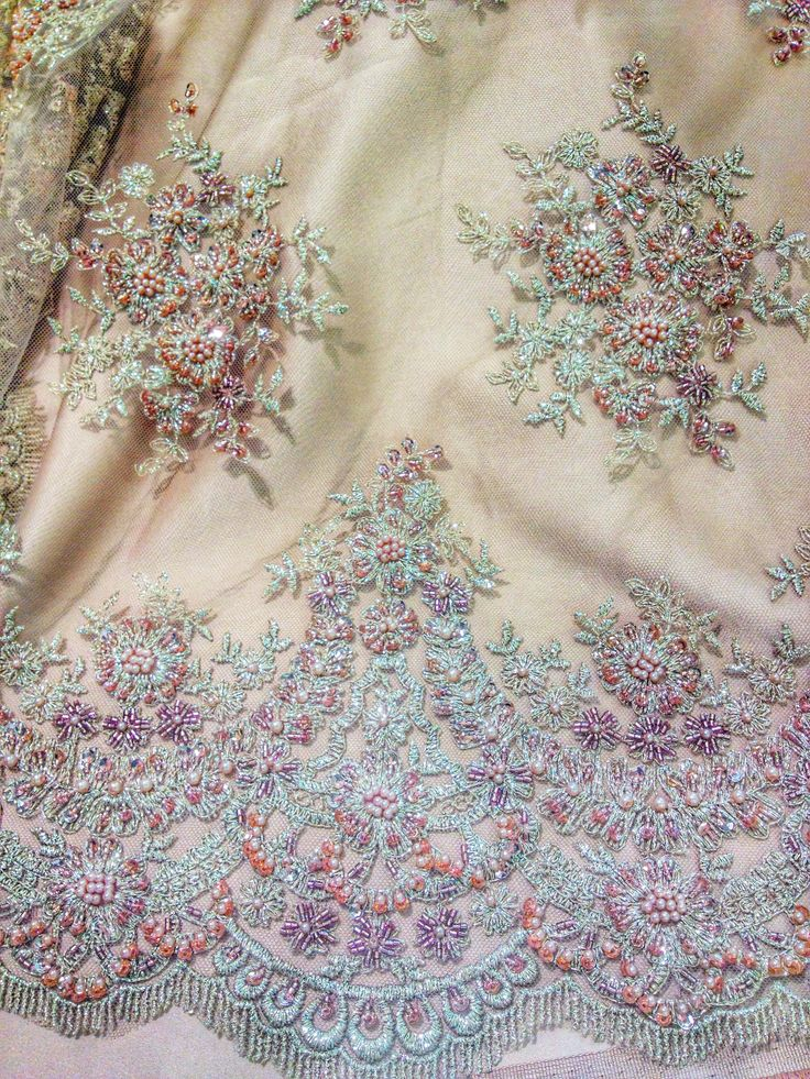 Embroidered lace, chic dress lace, haute couture, Sanmartin, fabrics