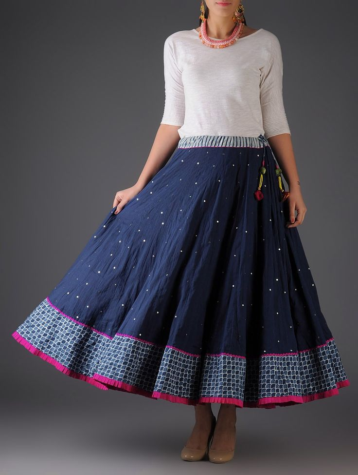 Silver Fuschia Navy Handblock Printed Mukaish Cotton Skirt Pinned by Sujayita