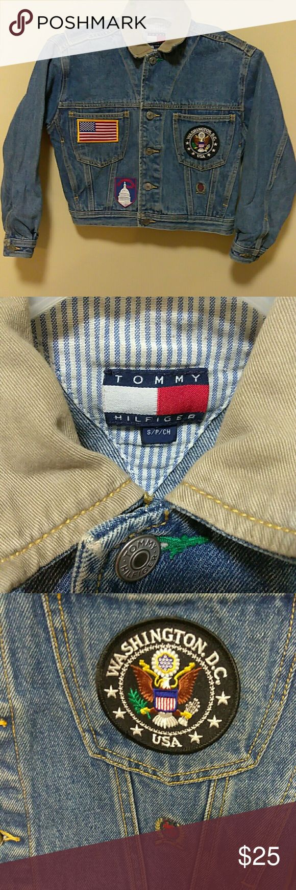 Unique vintage Tommy Hilfiger jean jacket kids This is a one of a kind, vintage, Tommy Hilfiger Jean jacket. Kids size small Washington DC edition. It is used and has a few spots that probably could be removed if dry-cleaned. Tommy Hilfiger Jackets & Coats Jean Jackets