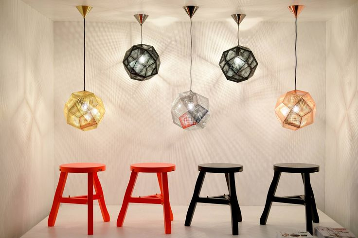 A row Etch Lights and Offcut Stools at the Tom Dixon exhibition opening at Louis Vuitton Gallery with Signum.