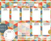 Organisateur de Menu pour la semaine près à imprimer 1- l-crée-a : Accessoires de maison par l-cree-a
