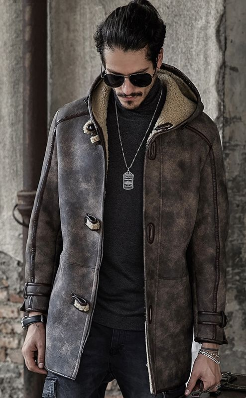a70088d70c2 B3 Flight Jacket Men s Shearling Jacket Camouflage Gray Long Style Leather  Jacket Mans Sheepskin Aviator Fur Coat