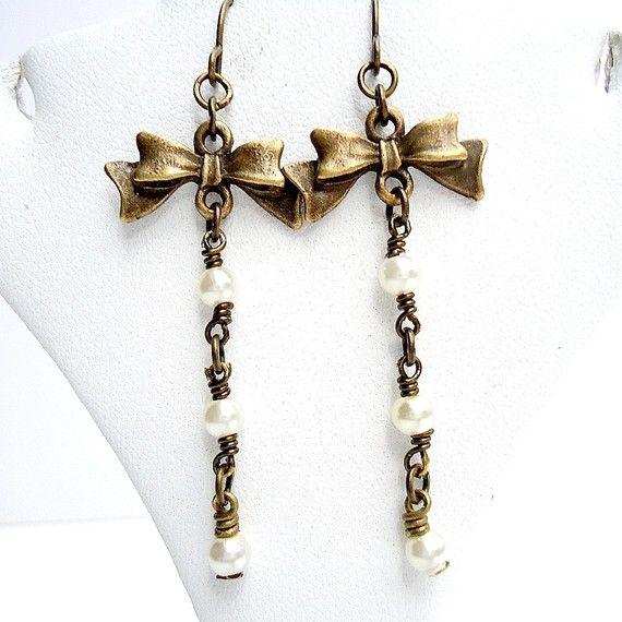 Pearl Earrings Brass Bow Jewelry by cdjali on Etsy, $15.00