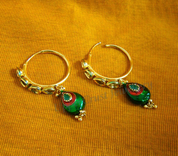 kundan loop/ bali earrings