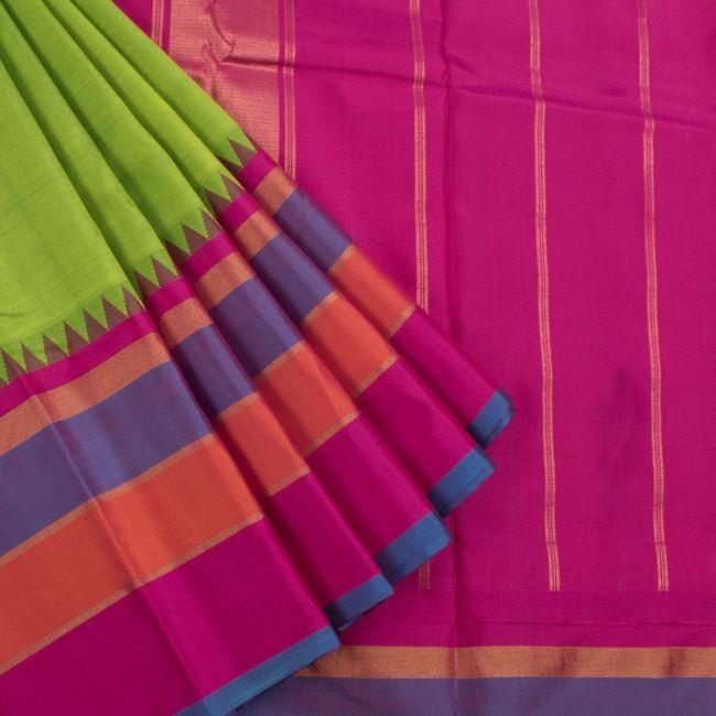 Sri Sagunthalai Silks Handwoven Korvai Kanchipuram Silk Saree with Temple & Ganga Jamuna Border 10002709 - AVISHYA