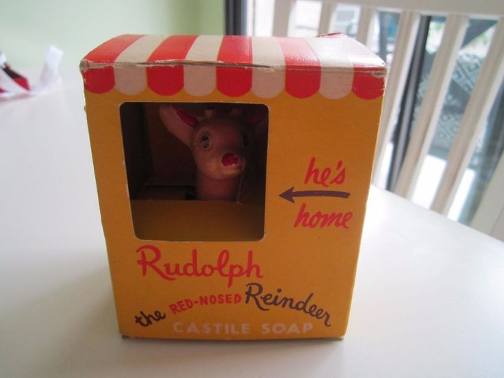 "Vintage RUDOLPH RED NOSED REINDEER Soap in Box 'House"" 40's Unused RARE"