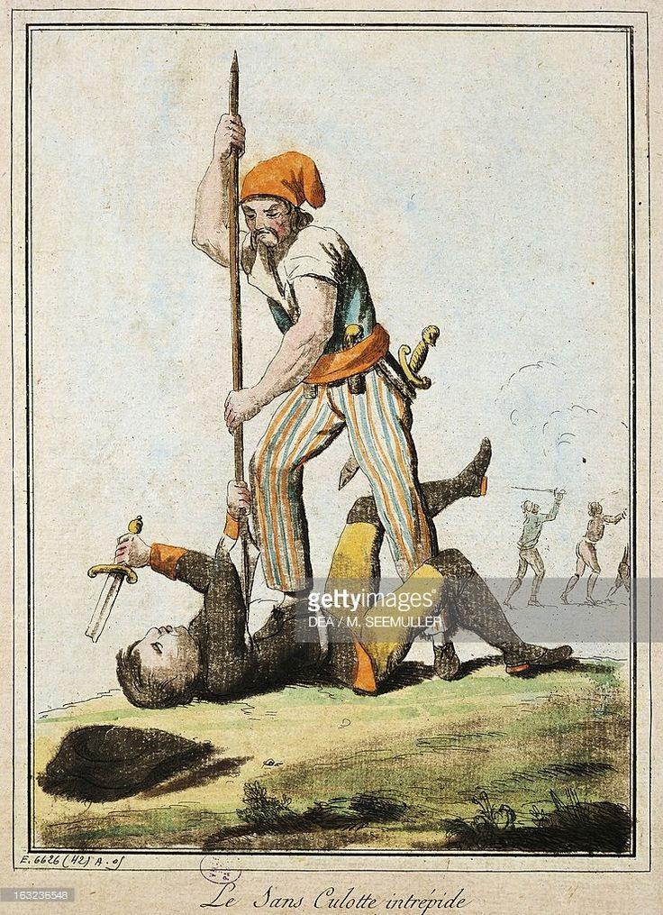 Sans-culotte killing one of king's guards, French Revolution, France, 18th century