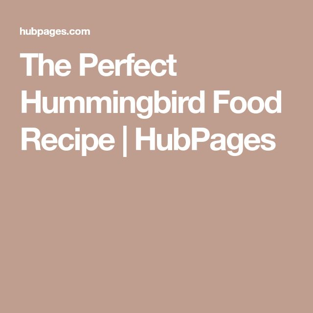 The Perfect Hummingbird Food Recipe | HubPages