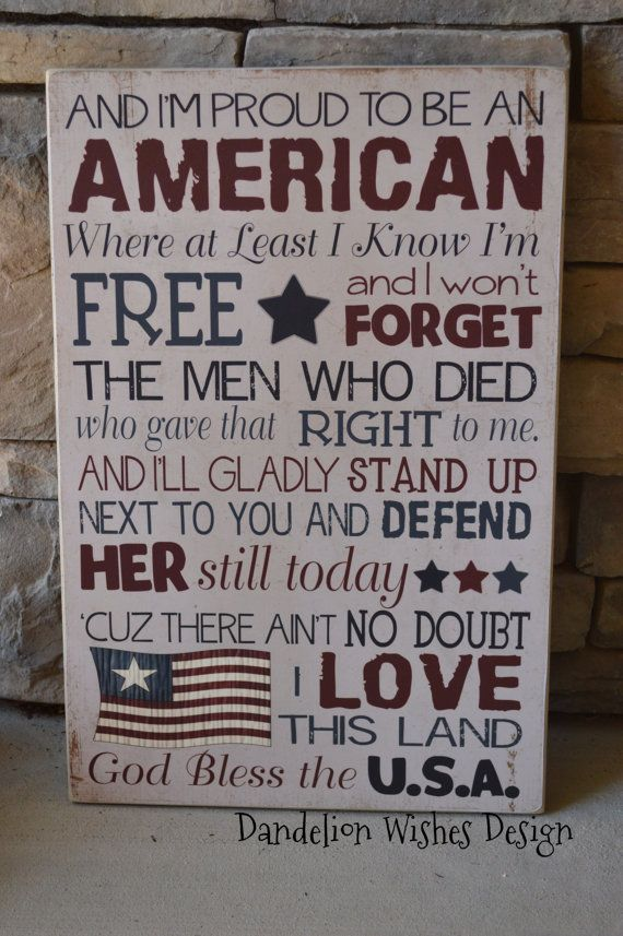 12x18 Proud to be an AMERICAN Subway Art sign for 4th of July or Flag Day! by DandelionWishesDesig on Etsy,