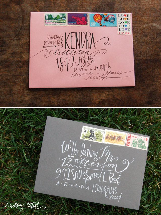 fun way to address envelopes: Idea, Wedding Invitations, Envelopes Address, Hands Letters, Hands Drawn Types, Lindsay Letters, Address Envelopes, Address An Envelopes, Snails Mail