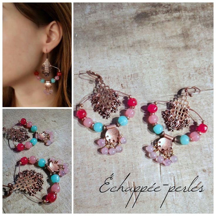 Boucles d'oreilles *Les Andalouses* style bohème chic : Boucles d'oreille par echappee-perles