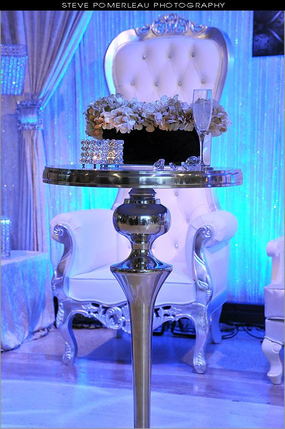 Hollywood Bar Table And White Silver Royal Baroque Throne