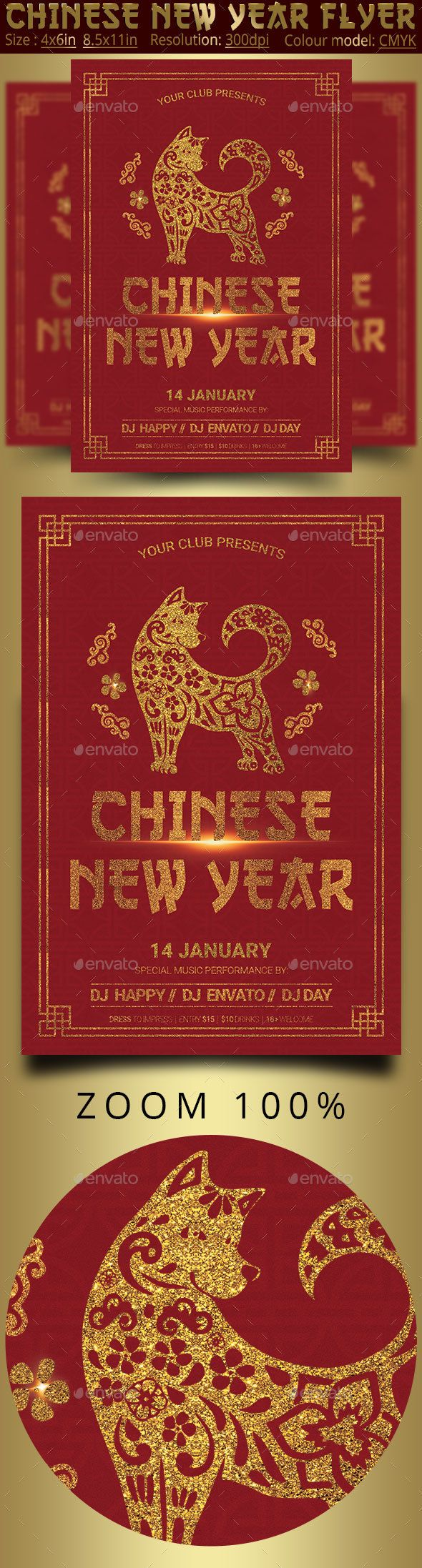 Chinese New Year Party Flyer Poster #red #new year  • Download here → https://graphicriver.net/item/chinese-new-year-party-flyer-poster/21198319?ref=pxcr