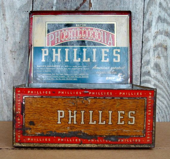 BAYUK Philadelphia PHILLIES Cigar Tin.  Yes...My maiden name was BAYUK, and my Grandfather with his brothers started the cigar company. Very proud of the Bayuk name. I have a vintage Phillies Cigar Box. 5 Cent Phillies Cigars!