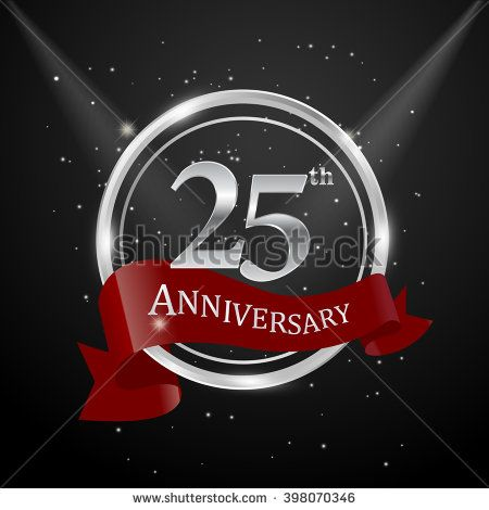 25th anniversary with silver ring and red ribbon - stock vector
