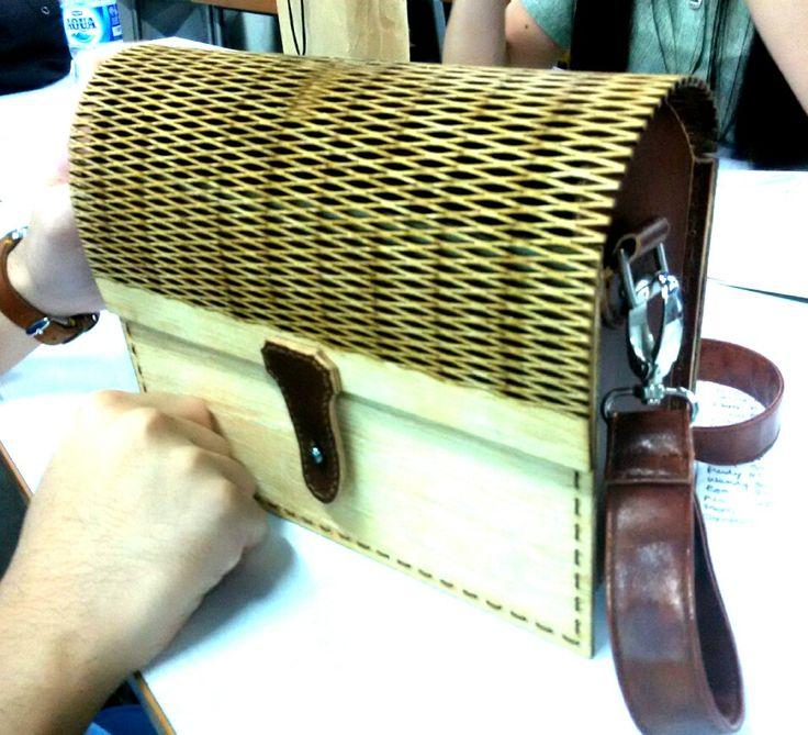 laser cut wood + leather bag by Merliana. UPH, Workshop 2, Despro 2013. UTS