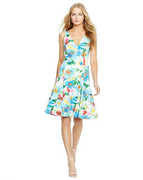 Floral-Print V-Back Dress - Polo Ralph Lauren Short Dresses - RalphLauren.
