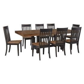 D563D3 in  by Ashley Furniture in Lubbock, TX - Emerfield - Two-tone Brown 9 Piece Dining Room Set