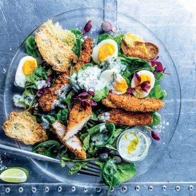 Taste Mag | Crunchy fried chicken with buttermilk Caesar-style dressing @ https://taste.co.za/recipes/crunchy-fried-chicken-buttermilk-caesar-style-dressing/
