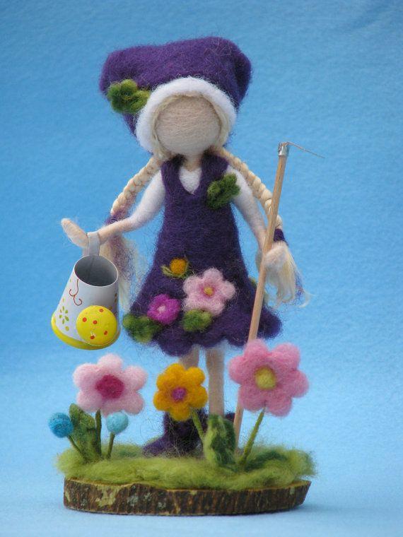 Needle felted waldorf inspired doll gardener by Made4uByMagic