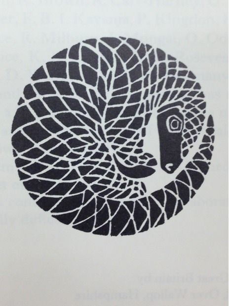 "thunderboltjackson: Loving this pangolin illustration in Jonathan Kingdon's ""East African Mammals"" (Vol IIB, 1974)."