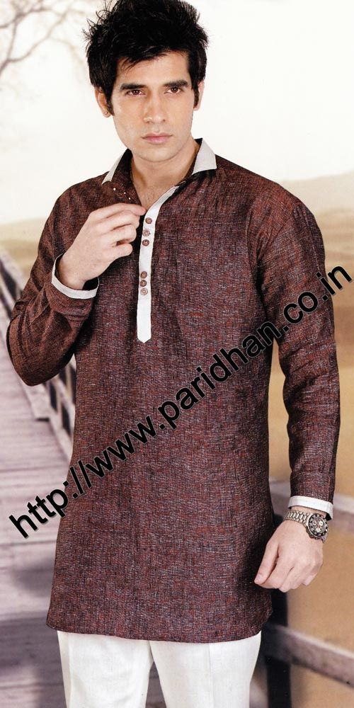 Modern look long sleeve linen kurta. We are using pure linen ...