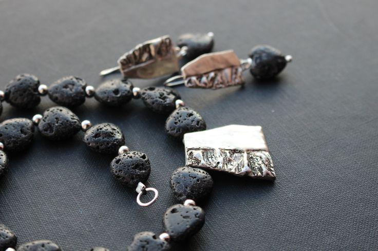 stříbro, láva, náhrdelník, náušnice