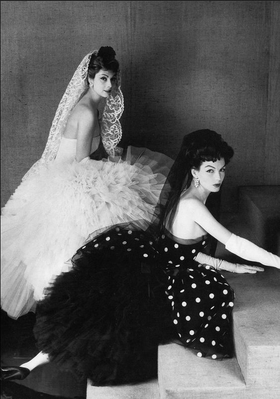 1957 Marie-Helene Arnaud and Joanna McCormick in cocktail dresses by Lanvin-Castillo, photo by Henry Clarke, French Vogue,