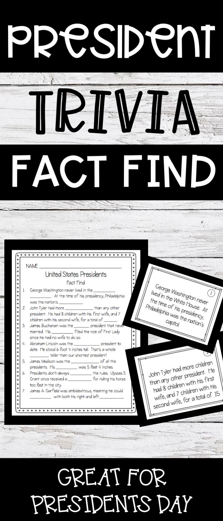 A fun activity to do with students on Presidents Day - Learn trivia and unknown facts about many of the US presidents in a scavenger hunt style activity